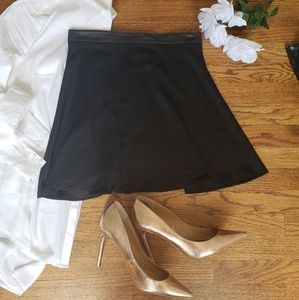 Jennifer Hope 100% Silk Skirt Leather Trim